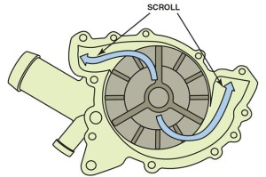 Coolant Pump Impeller and Scroll V-Type Engine