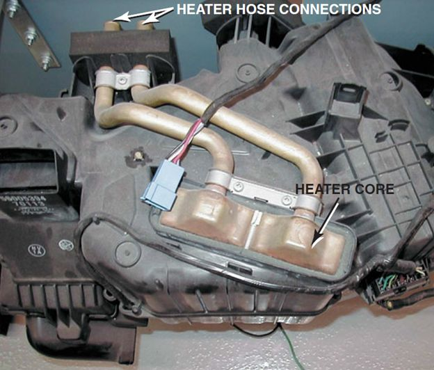 Heater Core Installed in a HVAC Housing Assembly