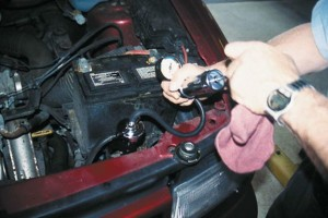Pressure Testing of a Car Engine under the Hood